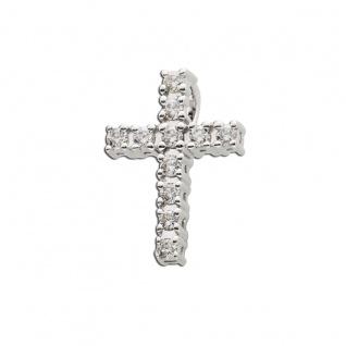 Brillant Kreuz Anhänger Weissgold 585 0, 18ct W/SI Diamantschmuck