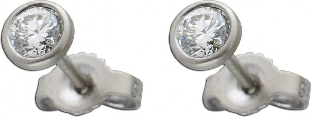 Diamant Ohrstecker 0, 35ct W/SI Platin 950 4, 8mm Zargenfassung