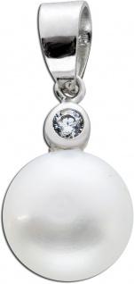 Weißer Perlenanhänger Süßwasserzuchtperle Silber 925 Zirkonia