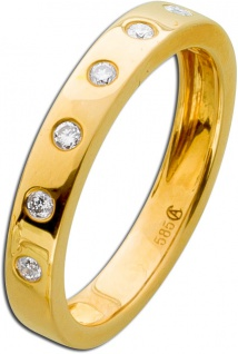 Vorsteckring Gelb Gold 585 Diamant Brillant 0, 14ct W/SI Memory Ring
