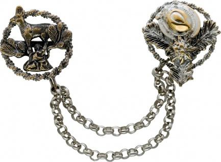 Antike Anstecknadel Brosche versilbert Metall Loden Look Jagdmotive