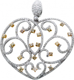 Diamant Herzanhänger Weissgold 750/- Brillant verspielter Form