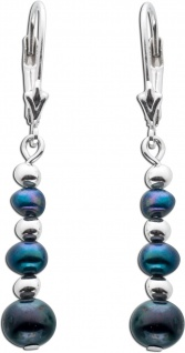 Perlen Ohrhänger schwarz anthrazit Silber 925 Süßwasserzuchtperle