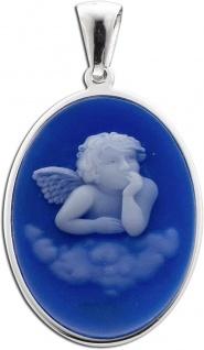 Engel Anhänger blau Sterling Silber 925 Kamee