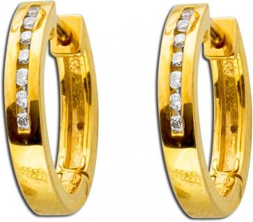 Ohrringe - Creolen Gold 585 Brillanten 0, 10ct W/SI Diamant Ohrschmuck