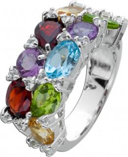 Bunter Edelstein Ring Silber 925 weißen Zirkonia Steinen