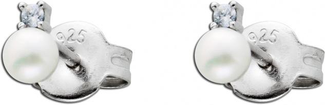 Runde Perlenohrstecker Süßwasserzuchtperlen weiß Silber 925