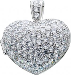 Anhänger Herz Medaillon Sterling silber 925/- Gross 84 Zirkonia
