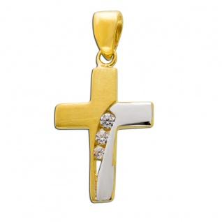 Kreuzanhänger Weißgold Gelb Gold 333 Zirkonia Klar