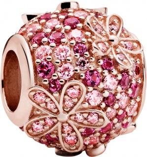 Pandora Garden Charm 788797C01 Pink Pave Daisy Flower Rose Pink