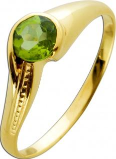 Ring im modernen Design Gelbgold 333 mit einem Peridot, Gr. 21mm