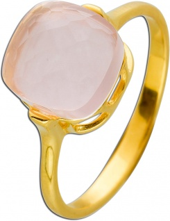Rosenquarz Ring Gelbgold 375 facettierter rosa Edelstein Damen 17-20mm
