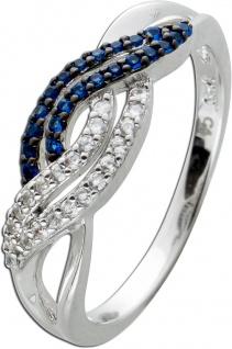 Ring Silber 925, 20 weisse, 20 blaue Zirkonia, teils geschwärzt