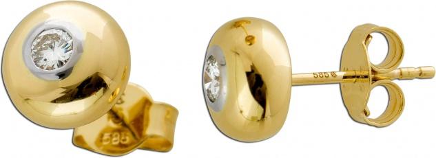 Solitär Diamant Ohrringe Ohrstecker Gelb Weissgold 585 0, 10ct M/SI
