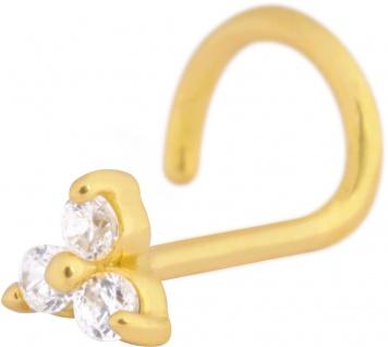 Wildcat Nasenstecker Gold 750 klare Kristalle Triangel Stablänge 6mm