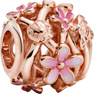 Pandora Garden Charm 788772C01 Openwork Pink Daisy Flower Rose Pink