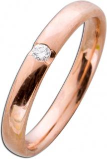 Diamant Rotgoldring 585 poliert Diamant 0, 05ct W/SI Brillantschliff