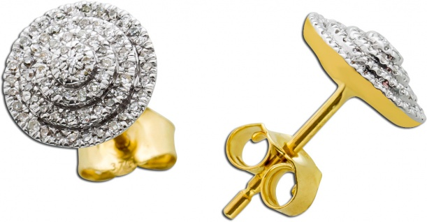 Diamant Ohrstecker Ohrringe Gelb Gold 333 1, 00ct 190 Diamanten 8/8 W/P