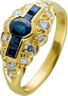 Antiker Brillant Saphir Ring Gelbgold 585 Saphire mit Görg Zertifikat