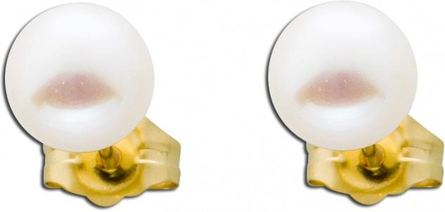 Perl Ohrringe Gelb Gold 585 weiße Süßwasserzuchtperlen