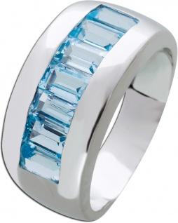 Edelstein blau Ring Silber 925 Blautopase Memoire Silberring
