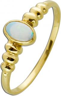 Edelstein Ring weiß grün schimmernden Opal Gelbgold 333 Damen Ring