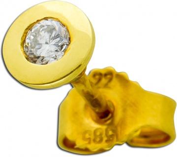 Einzelner Ohrstecker Gelbgold 585/- Diamant Brillant ca 0, 15ct TW/SI