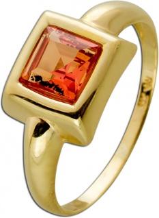 Ring Gelbgold 333 1 synthetischer Padt Paradscha Edelstein Gr.17, 3mm