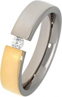 Titania Ring 30406 Bicolor Titan Teils IP Vergoldet Klare Zirkonia