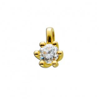 Diamant Anhänger Gold 585 14kt Solitär Brillant 0, 50ct