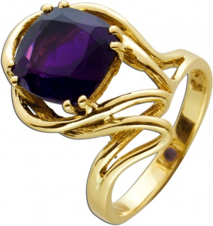 Amethyst Ring Gelbgold 585 Poliert Edelstein Facettiert Ca. 3 Carat