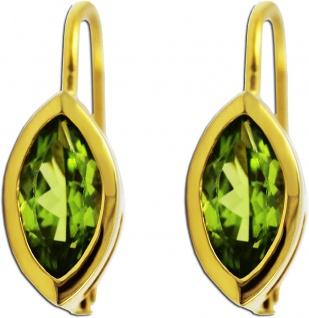 Ohrringe Ohrhänger Gold 333 grüner Peridot Edelstein Ohrschmuck