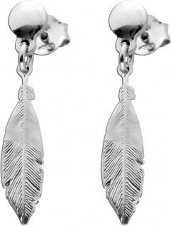 Feder Ohrstecker Ohrringe Silber 925 beweglichen Feder