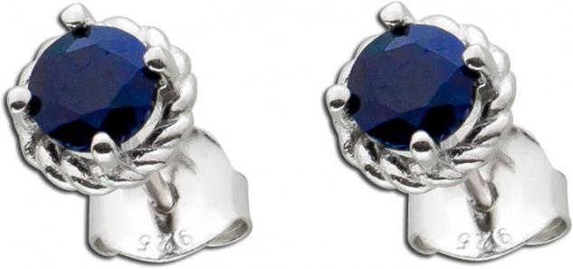 Safir Ohrringe Silber 925 nachtblauer Saphir