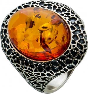 Ring Silber 925/- teils geschwärzt mit ovalen Cognac Bernstein 17 bis