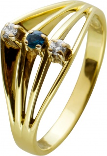 Antiker Diamant Saphir Ring mit Brillanten