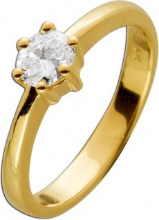 Solitärring Gold 585 ovaler Diamant 0, 45ct TW/IF-VVS Gelbgold 14kt