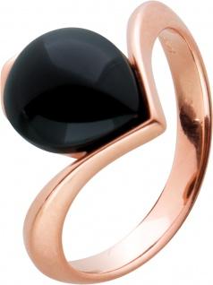 Onyx Edelstein Ring Silber 925 rose vergoldet schwarz Tropfen Cabochon