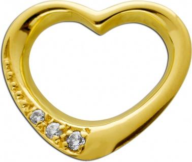 Diamant Herz Anhänger Gelbgold 585 14 Karat 3 Diamanten Brillant