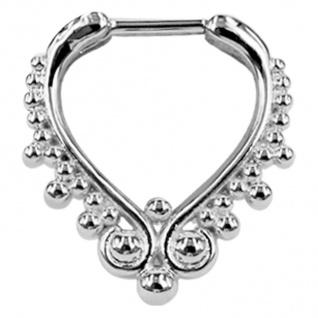 WILDCAT Piercing Septum Steg Chirurgenstahl 316L PVD Silber Ring aus