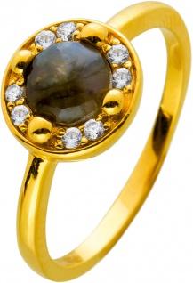 Labradorit Ring Silber 925 Vergoldet Edelstein Cabochon Klare Zirkonia