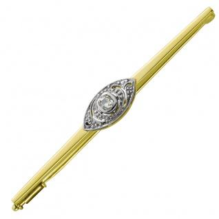 Antike Brosche Gelbgold Weißgold 585 Diamant W/SI 0, 25ct Altschliff