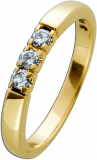 Memoire Ring Gelbgold 585 Diamanten Brillanten zus. 0, 15ct TW/SI