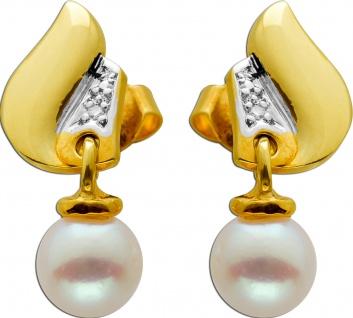 Ohrhänger Gelbgold Weissgold 585 2 Diamanten 8/8 0, 02ct W/SI 2 Akoya