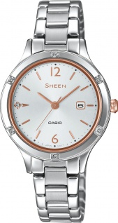 Casio Sheen Damenuhr SHE-4533D-7AUER Quarz Swarowski Crystals Silber