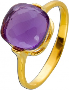 Lila Amethyst Ring Gelbgold 375 facettierter violetter Edelstein Damen