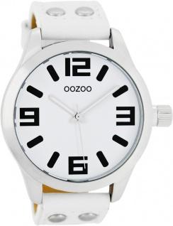 OOZOO Uhren C1050 Unisex weißes Lederband Nieten Silber Gehäuse matt