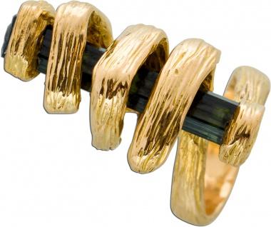 Gold Ring grünen Turmalin Gelbgold 750 Edelstein Ring