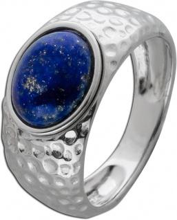 Blauer Edelstein Ring Silber 925 Lapislazuli gehämmert Damen