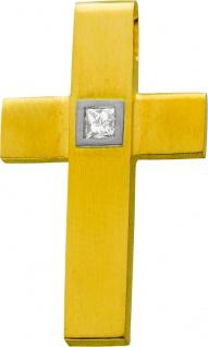 Diamant Kreuz Gelbgold 750 Brillant Princess Cut